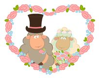 Sheep bridegroom and bride. Cartoon sheep bridegroom and bride on background with floral heart Stock Images