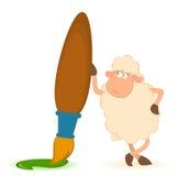 Sheep with brush on white background Stock Photo