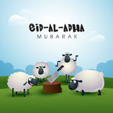 Sheep with Butcher's Block for Eid-Al-Adha Mubarak. Muslim Community, Festival of Sacrifice, Eid-Al-Adha Celebration with illustration of Sheep and Butcher's Stock Photo