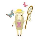 Sheep with butterflies Royalty Free Stock Photos
