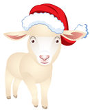 Sheep in a cap of Santa Claus Royalty Free Stock Photography