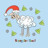 Sheep card for new year Royalty Free Stock Images
