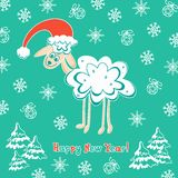 Sheep card for new year Stock Photo