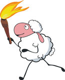 Sheep carrying torch. Vector illustration of sheep carrying torch Royalty Free Stock Image