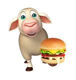 Sheep cartoon character with burger. 3d rendered illustration of Sheep cartoon character with burger Royalty Free Stock Photos