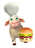 Sheep cartoon character with chef hat and burger. 3d rendered illustration of Sheep cartoon character with chef hat and burger Royalty Free Stock Images