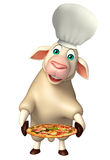 Sheep cartoon character with chef hat and pizza Stock Photography