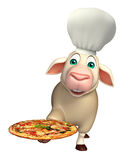 Sheep cartoon character with chef hat and pizza Royalty Free Stock Photo