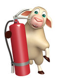 Sheep cartoon character with fire extinguisher. 3d rendered illustration of Sheep cartoon character with fire extinguisher Royalty Free Stock Photo