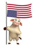 Sheep cartoon character  with flag. 3d rendered illustration of Sheep cartoon character with flag Stock Image