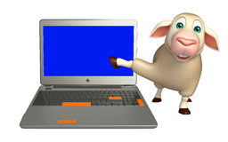 Sheep cartoon character with laptop Royalty Free Stock Photography