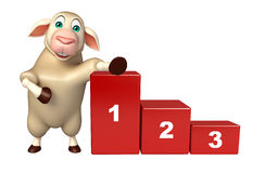 Sheep cartoon character with level. 3d rendered illustration of Sheep cartoon character with level Stock Images