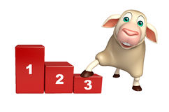 Sheep cartoon character with level. 3d rendered illustration of Sheep cartoon character with level Stock Photos