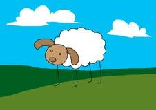 Sheep cartoon. On green meadows Royalty Free Stock Image