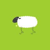 Sheep with chamomile. Cute sheep with dark grey head, thin legs and white body with space for your text on it holding chamomile in the mouth on bright green royalty free illustration