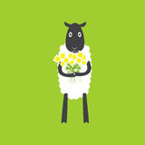 Sheep with chamomiles Royalty Free Stock Image