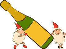 Sheep with champagne bottles. Christmas funny sheep with champagne bottles stock illustration