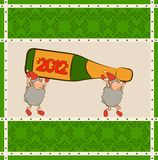 Sheep with champagne bottles. Royalty Free Stock Photos