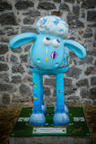 Sheep charity moneybox. One of Aardman's Shaun the Sheep characters on display around the centre of Bristol in August 2015 set up to collect money for children Royalty Free Stock Photo