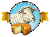 Sheep cheese label Stock Image