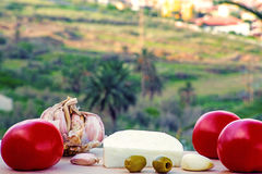 Sheep cheese with olives, tomatoes and garlic Royalty Free Stock Photo
