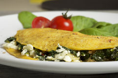 Sheep cheese and spinach omelette. Food & Dishes for Restaurants, Cuisine of the peoples of the world, Healthy Recipes Royalty Free Stock Image
