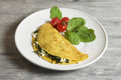 Sheep cheese and spinach omelette. Food & Dishes for Restaurants, Cuisine of the peoples of the world, Healthy Recipes Royalty Free Stock Photos