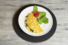 Sheep cheese and spinach omelette. Food & Dishes for Restaurants, Cuisine of the peoples of the world, Healthy Recipes Royalty Free Stock Photo