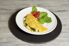 Sheep cheese and spinach omelette. Food & Dishes for Restaurants, Cuisine of the peoples of the world, Healthy Recipes Royalty Free Stock Images