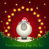 Sheep in the Christmas decorations. Illustration of sheep in the Christmas decorations. Garland of stars. Cute lamb. 2015 New Year Royalty Free Stock Photo