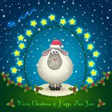 Sheep in the Christmas decorations. Illustration of sheep in the Christmas decorations. Garland of stars. Cute lamb. 2015 New Year Stock Photo