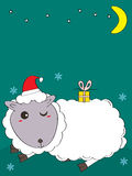 Sheep Christmas hat Royalty Free Stock Images
