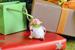 Sheep and Christmas New Year Gifts Stock Photos