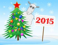 Sheep, christmas tree and banner with numbers 2015 year. Vector  illustration Stock Photography