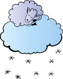 Sheep on the cloud  illustration Royalty Free Stock Photography