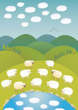 Sheep and clouds. Sheep wondering the fleecy sky reflecting in the water Royalty Free Stock Photo