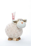Sheep coin bank with euro. On white background Stock Photo