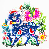 Sheep,color paper cutting. Chinese Zodiac. Stock Photo