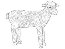 Sheep Coloring vector for adults Royalty Free Stock Images
