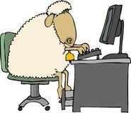 Sheep at a computer. This illustration depicts a sheep sitting at a desk with a computer