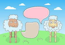 Sheep Conversation with Speech Bubbles Royalty Free Stock Images