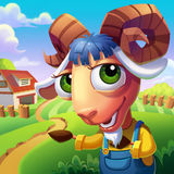 The Sheep with Convoluted Horns Welcome You to His Farm!. Video Game's Digital CG Artwork, Concept Illustration, Realistic Cartoon Style Background and Royalty Free Stock Photography