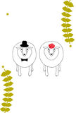 Sheep couple in hat Royalty Free Stock Photos