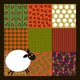 Sheep crazy patchwork. Textile background and sheep crazy patchwork Royalty Free Stock Photography