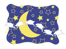 Sheep, Crescent Moon, and Stars Royalty Free Stock Photography