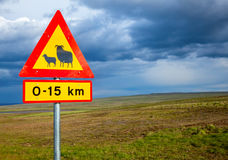 Sheep Crossing road sign Stock Photos