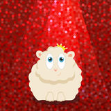 Sheep in the crown under the bright lights. Vector Stock Images