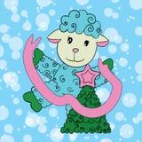 Sheep decorates fir-tree Royalty Free Stock Photos