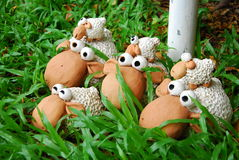 Sheep dolls in garden Stock Photography