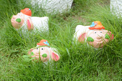Sheep dolls. White sheep dolls in garden Royalty Free Stock Images